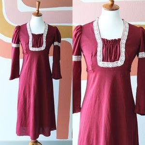 70's burgundy dress with lace detail